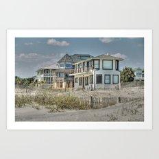 Tybee Island Beach Houses in Winter Art Print