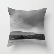 Rainclouds and rain over Rydal Water at dusk. Lake District, UK. Throw Pillow