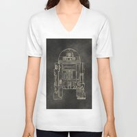 r2d2 V-neck T-shirts featuring R2D2 by LindseyCowley
