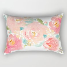Watercolor Peonies Summer Bouquet Rectangular Pillow