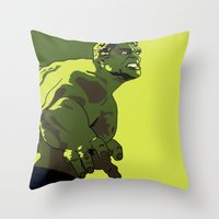 hulk Throw Pillows featuring Hulk by iankingart