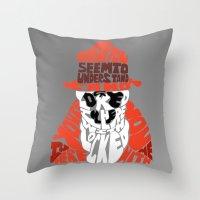 rorschach Throw Pillows featuring Rorschach by Rebecca McGoran