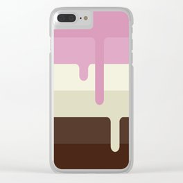 Dripping Neapolitan Ice Cream Clear iPhone Case