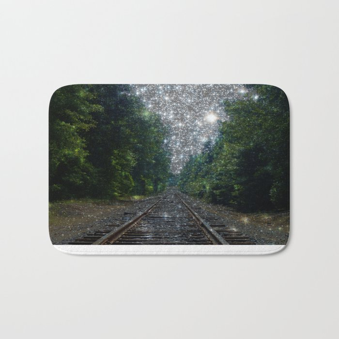 Train Tracks Sparkling Dream : Next Stop Anywhere Bath Mat