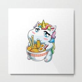 Kawaii Unicorn Cute japanese ramen anime art gifts T-Shirt Metal Print