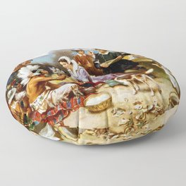 The First Thanksgiving 1621 By Jean Leon Gerome Ferris Floor Pillow
