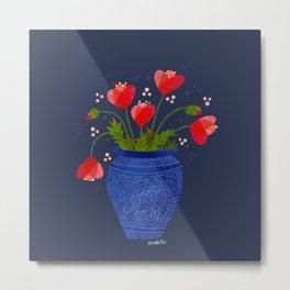 In Bloom Poppy Bouquet in Antique Vase Metal Print