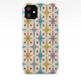 Mid Century Modern Abstract Star Pattern 441 Gray Brown Turquoise Olive Green iPhone Case