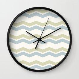 Chevron pattern pale grey and green Wall Clock