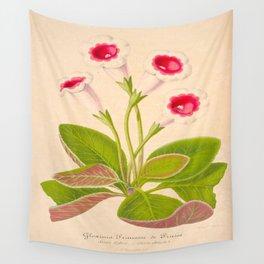 GLOXINIA PRINCESSE DE PRUSSE Vintage Botanical Floral Flower Plant Scientific Illustration Wall Tapestry