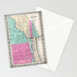 Vintage Map of Chicago IL (1855) Stationery Cards