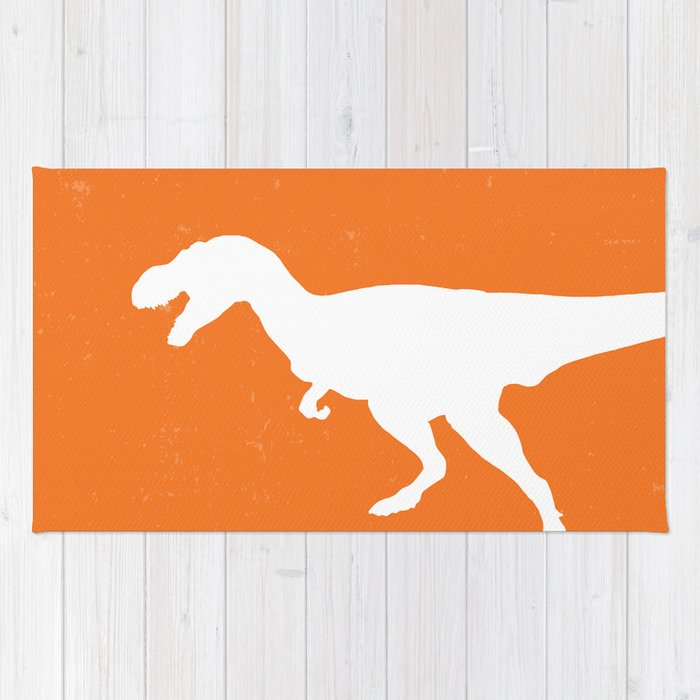 T Rex Orange Dinosaur Rug By Aldariartstudio Society6