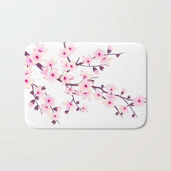 Cherry Blossom Pink White Bath Mat