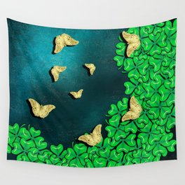 clover and butterflies Wall Tapestry
