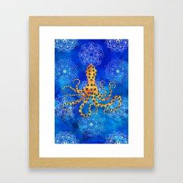 Watercolor Blue Ringed Octopus Mandalas Framed Art Print
