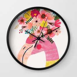 Pink flamingo with flowers on head Wall Clock
