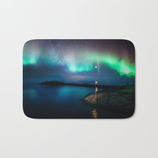 Aurora Borealis Over Coastal Waters Bath Mat