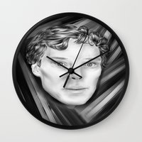 benedict cumberbatch Wall Clocks featuring Benedict Cumberbatch by Cassandra Moonen