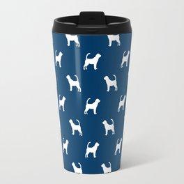Bloodhound dog breed minimal pattern blue and white dog lover bloodhounds breed Travel Mug