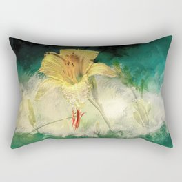 Yellow, Dew-Kissed Daylily Rectangular Pillow
