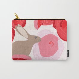 Rabbits in the Roses Carry-All Pouch