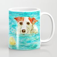 jack russell Mugs featuring Jack Russell Terrier by gretzky