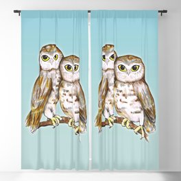 Two cute owls Blackout Curtain