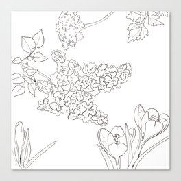 Flora of Fun - Color or Paint Your Own! Canvas Print