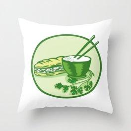 Banh Mi Rice Bowl Coriander Circle Retro Throw Pillow