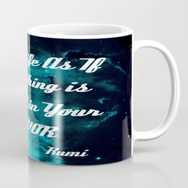 Rigged in Your Favor Rumi Quote Teal Galaxy Coffee Mug