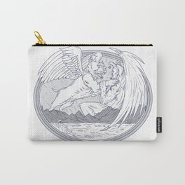 American Bully Fighting Demon Drawing Carry-All Pouch