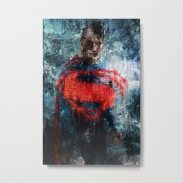 Superman Stare - Wall Art, Print, Home Decor, Dorm Decor, Impressionism, Painting Metal Print