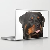 rottweiler Laptop & iPad Skins featuring Cute Rottweiler With Tongue Out by taiche