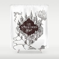 marauders Shower Curtains featuring MARAUDERS MAP by ThreeBoys