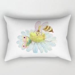 Bee Butterfly on a Blue Flower Rectangular Pillow