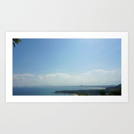 Blue Bay with Tree Leaves Art Print