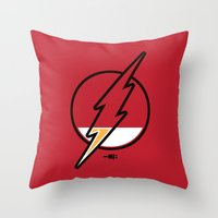 running Throw Pillows featuring Running Low by Steven Toang
