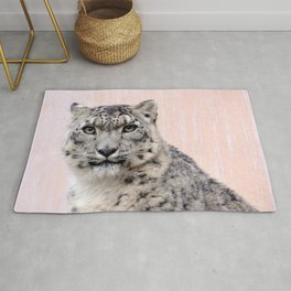 Snow Leopard in Pink Rug