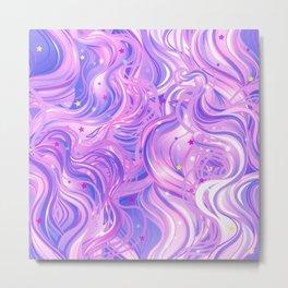 Pink & Purple Waves in the Stars Metal Print