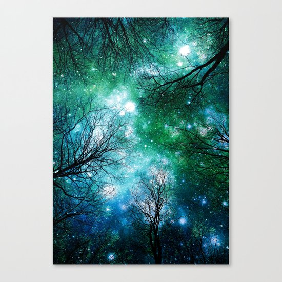 Black Trees Teal Green Space Canvas Print