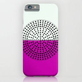 Abstract Sunrise Of Black Hole Sun. Fuchsia Violet And Honeydew iPhone Case