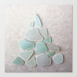Sea Foam Sea Glass Christmas Tree #Christmas #seaglass Canvas Print