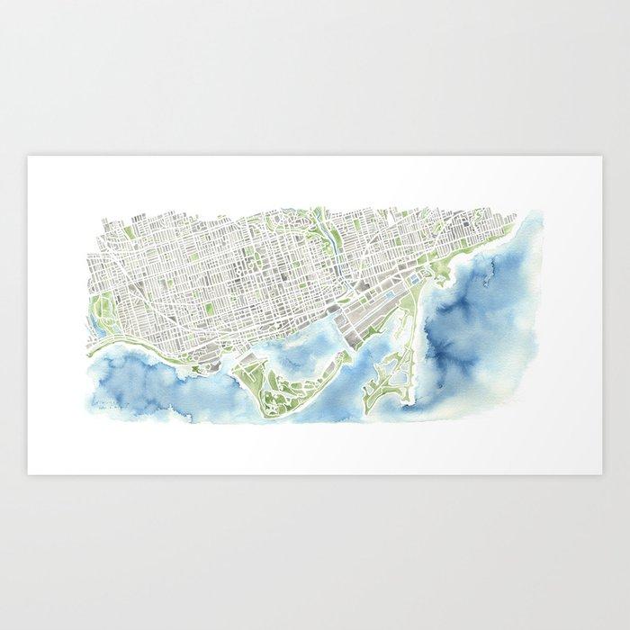 Toronto Canada Watercolor city map Art Print by aemcdraw | Society6