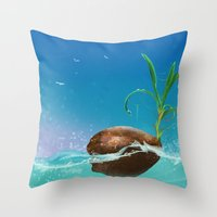 coconut wishes Throw Pillows featuring Coconut by Azot