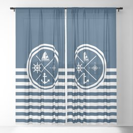 Sailing symbols Sheer Curtain