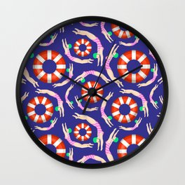Summer Swimmers in Pink on Navy | Floats | Life Savers | pulps of wood Wall Clock