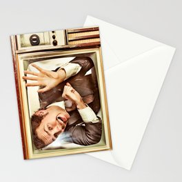 Man trapped in TV Stationery Cards