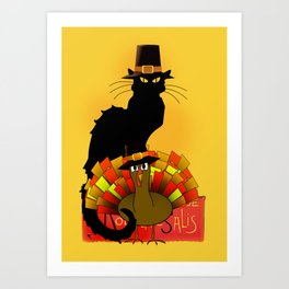 Thanksgiving Le Chat Noir With Turkey Pilgrim Art Print
