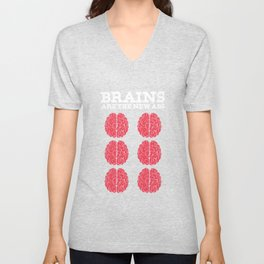 Brainy Science Math Genius Brains Are The New Abs Intelligent Gift Unisex V-Neck