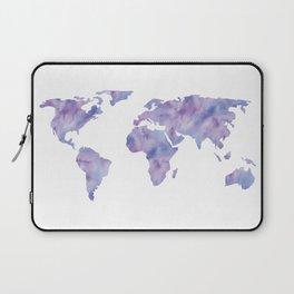 World Map Light Blue Purple Indigo Laptop Sleeve